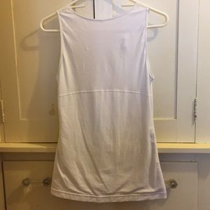 Tops - White Stretchy Top with Lace Details Size Medium